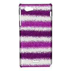 Metallic Pink Glitter Stripes Sony Xperia J