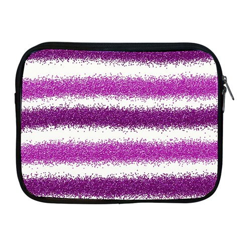 Metallic Pink Glitter Stripes Apple iPad 2/3/4 Zipper Cases
