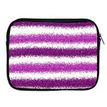 Metallic Pink Glitter Stripes Apple iPad 2/3/4 Zipper Cases Front