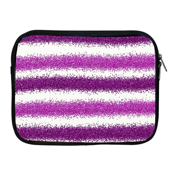 Metallic Pink Glitter Stripes Apple iPad 2/3/4 Zipper Cases