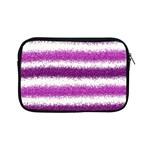 Metallic Pink Glitter Stripes Apple iPad Mini Zipper Cases Front