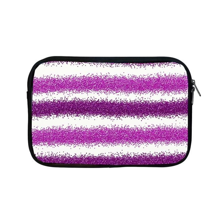 Metallic Pink Glitter Stripes Apple iPad Mini Zipper Cases