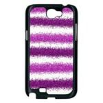 Metallic Pink Glitter Stripes Samsung Galaxy Note 2 Case (Black) Front