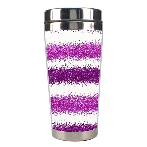 Metallic Pink Glitter Stripes Stainless Steel Travel Tumblers