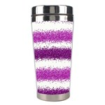 Metallic Pink Glitter Stripes Stainless Steel Travel Tumblers Left