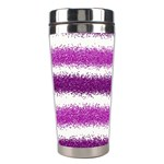 Metallic Pink Glitter Stripes Stainless Steel Travel Tumblers Center