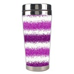 Metallic Pink Glitter Stripes Stainless Steel Travel Tumblers Right