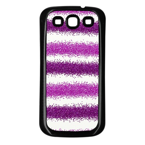 Metallic Pink Glitter Stripes Samsung Galaxy S3 Back Case (Black)