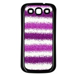 Metallic Pink Glitter Stripes Samsung Galaxy S3 Back Case (Black) Front