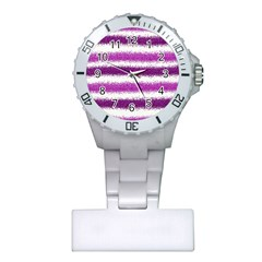 Metallic Pink Glitter Stripes Plastic Nurses Watch