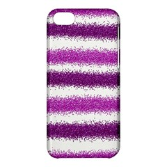 Metallic Pink Glitter Stripes Apple iPhone 5C Hardshell Case