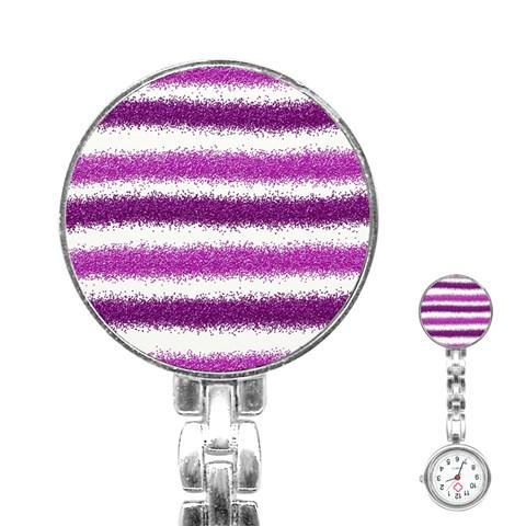 Metallic Pink Glitter Stripes Stainless Steel Nurses Watch