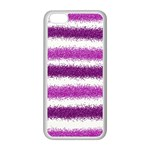 Metallic Pink Glitter Stripes Apple iPhone 5C Seamless Case (White) Front