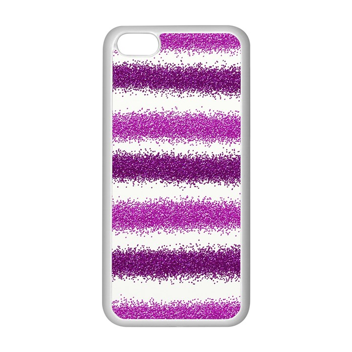 Metallic Pink Glitter Stripes Apple iPhone 5C Seamless Case (White)