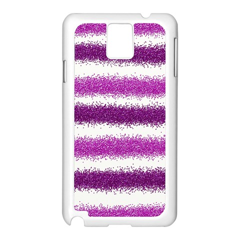 Metallic Pink Glitter Stripes Samsung Galaxy Note 3 N9005 Case (White)