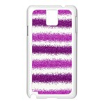 Metallic Pink Glitter Stripes Samsung Galaxy Note 3 N9005 Case (White) Front