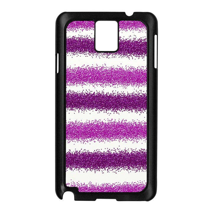 Metallic Pink Glitter Stripes Samsung Galaxy Note 3 N9005 Case (Black)