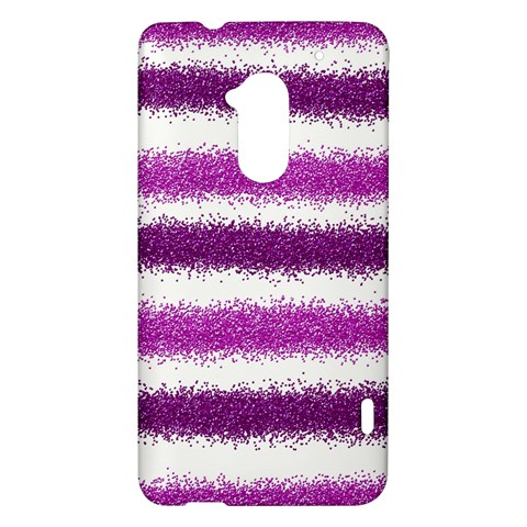 Metallic Pink Glitter Stripes HTC One Max (T6) Hardshell Case