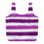 Metallic Pink Glitter Stripes Full Print Recycle Bags (L)  Back