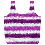 Metallic Pink Glitter Stripes Full Print Recycle Bags (L)  Front