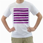 Metallic Pink Glitter Stripes Men s T-Shirt (White)  Front