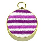 Metallic Pink Glitter Stripes Gold Compasses Front