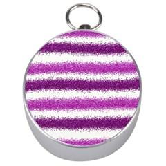 Metallic Pink Glitter Stripes Silver Compasses