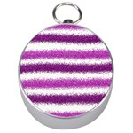 Metallic Pink Glitter Stripes Silver Compasses Front