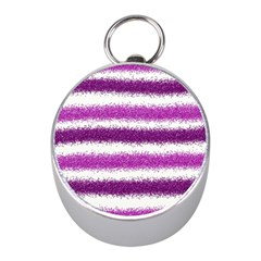 Metallic Pink Glitter Stripes Mini Silver Compasses