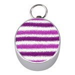 Metallic Pink Glitter Stripes Mini Silver Compasses Front