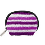 Metallic Pink Glitter Stripes Accessory Pouches (Small)  Front