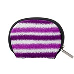 Metallic Pink Glitter Stripes Accessory Pouches (Small)  Back