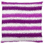 Metallic Pink Glitter Stripes Large Flano Cushion Case (One Side) Front