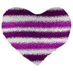 Metallic Pink Glitter Stripes Large 19  Premium Flano Heart Shape Cushions Front