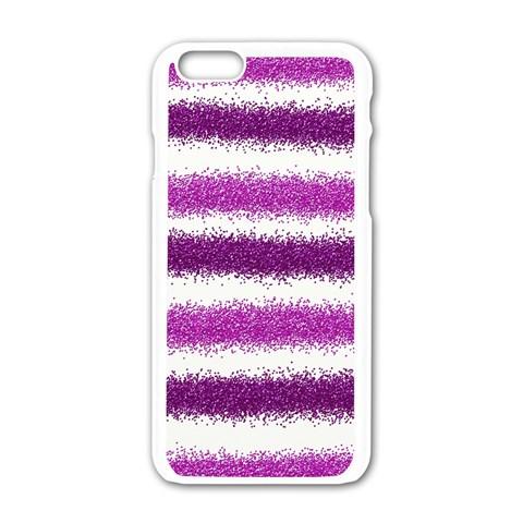 Metallic Pink Glitter Stripes Apple iPhone 6/6S White Enamel Case
