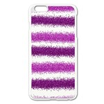 Metallic Pink Glitter Stripes Apple iPhone 6 Plus/6S Plus Enamel White Case Front