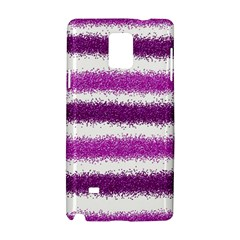 Metallic Pink Glitter Stripes Samsung Galaxy Note 4 Hardshell Case