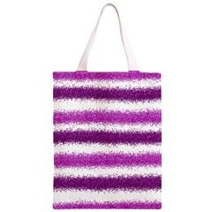 Metallic Pink Glitter Stripes Classic Light Tote Bag