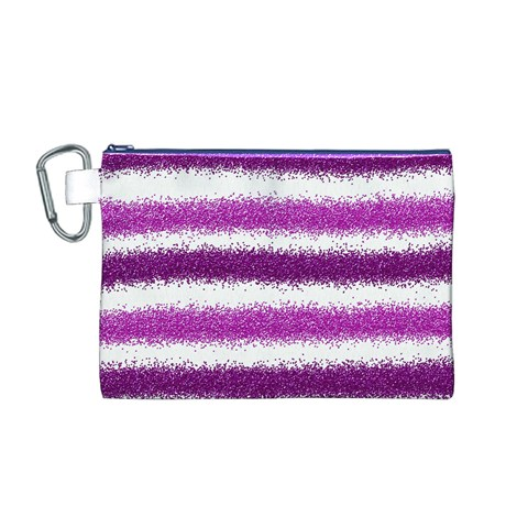 Metallic Pink Glitter Stripes Canvas Cosmetic Bag (M)