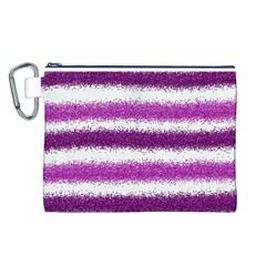 Metallic Pink Glitter Stripes Canvas Cosmetic Bag (L)