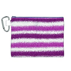 Metallic Pink Glitter Stripes Canvas Cosmetic Bag (XL)