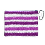Metallic Pink Glitter Stripes Canvas Cosmetic Bag (XL) Back