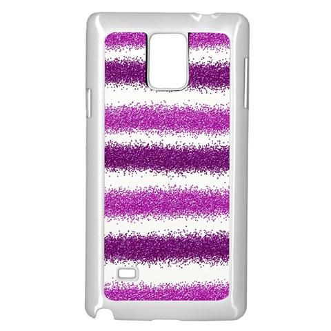 Metallic Pink Glitter Stripes Samsung Galaxy Note 4 Case (White)