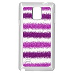 Metallic Pink Glitter Stripes Samsung Galaxy Note 4 Case (White) Front