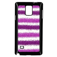 Metallic Pink Glitter Stripes Samsung Galaxy Note 4 Case (Black)