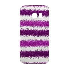 Metallic Pink Glitter Stripes Galaxy S6 Edge