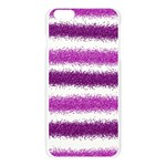 Metallic Pink Glitter Stripes Apple Seamless iPhone 6 Plus/6S Plus Case (Transparent) Front