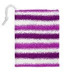 Metallic Pink Glitter Stripes Drawstring Pouches (Extra Large) Back