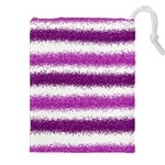 Metallic Pink Glitter Stripes Drawstring Pouches (XXL) Front