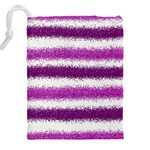 Metallic Pink Glitter Stripes Drawstring Pouches (XXL) Back